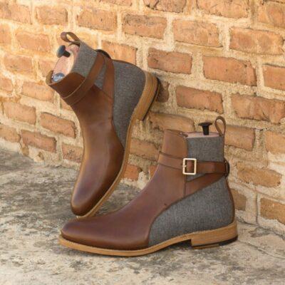 Custom Made Goodyear Welted Men's Jodhpur Boot in Medium Brown Box Calf with Light Grey Flannel