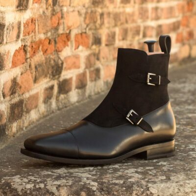 Custom Made Goodyear Welted Men's Octavian Boot in Black Box Calf and Black Kid Suede