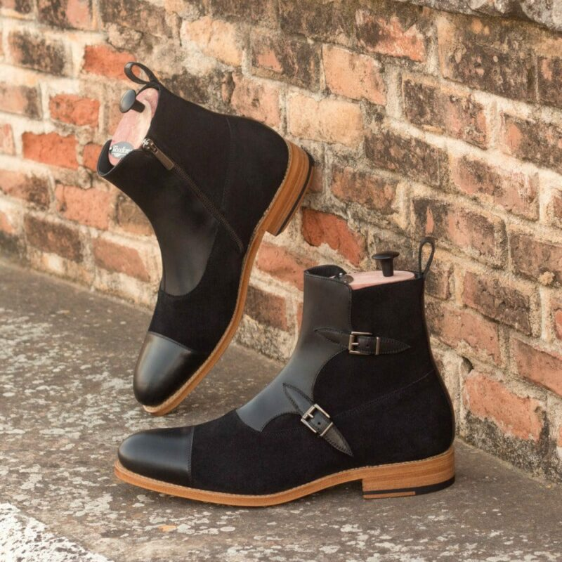 Custom Made Goodyear Welted Men's Octavian Boot in Black Painted Calf and Black Luxe Suede