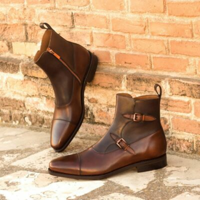 Custom Made Goodyear Welted Men's Octavian Boot in Medium Brown and Dark Brown Painted Calf Leather