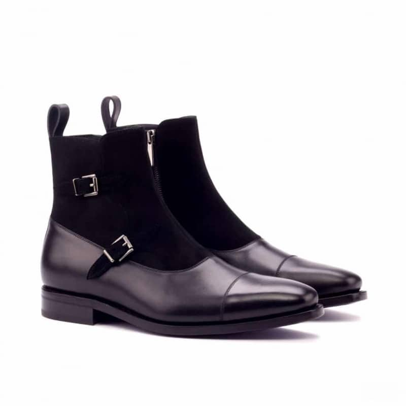 Custom Made Goodyear Welted Octavian Boot in Black Box Calf and Black Kid Suede