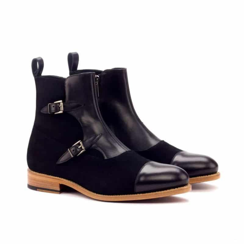 Custom Made Goodyear Welted Octavian Boot in Black Painted Calf and Black Luxe Suede
