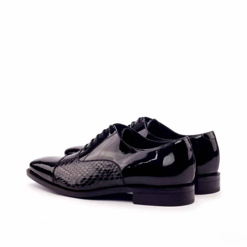 Custom Made Goodyear Welted Oxford in Black Genuine Python and Black Patent Leather