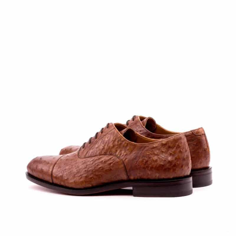 Custom Made Goodyear Welted Oxford in Medium Brown Genuine Ostrich