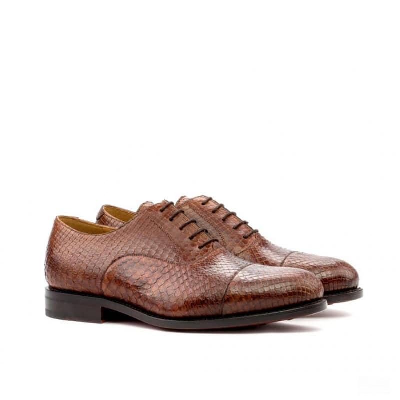 Custom Made Goodyear Welted Oxford in Medium Brown Genuine Python