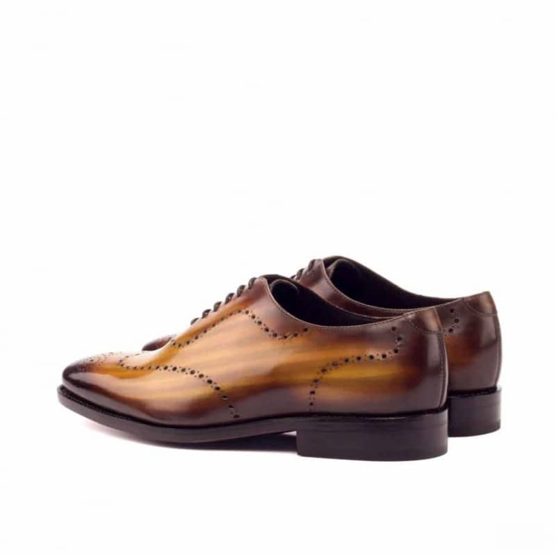Custom Made Goodyear Welted Whole Cut Dress Shoes in Italian Raw Crust Leather with a Cognac Hand Patina