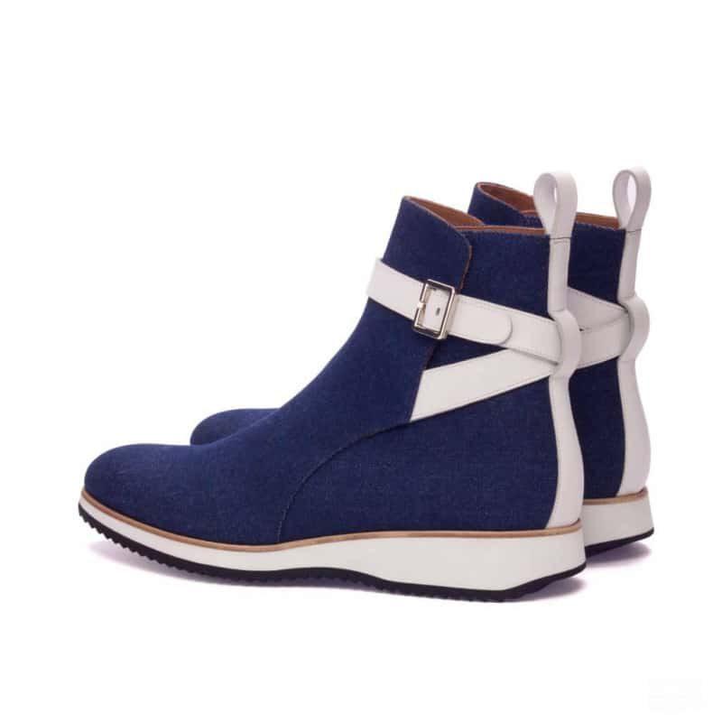 Custom Made Jodhpur Boot in Denim and White Box Calf