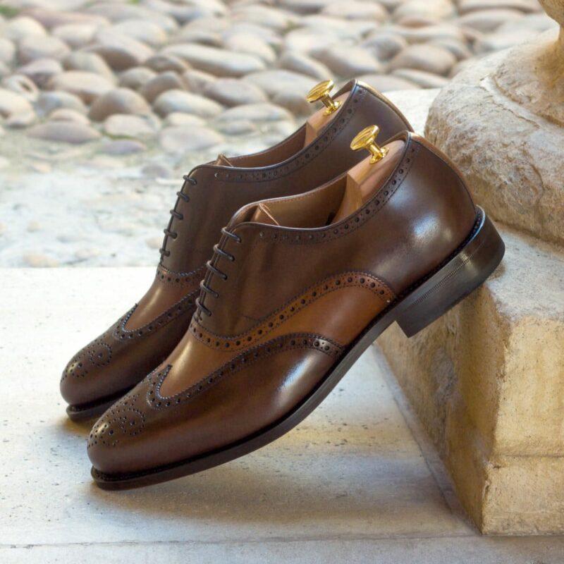 Custom Made Men's Goodyear Welt Wingtips in Cognac and Dark Brown Painted Calf Leather