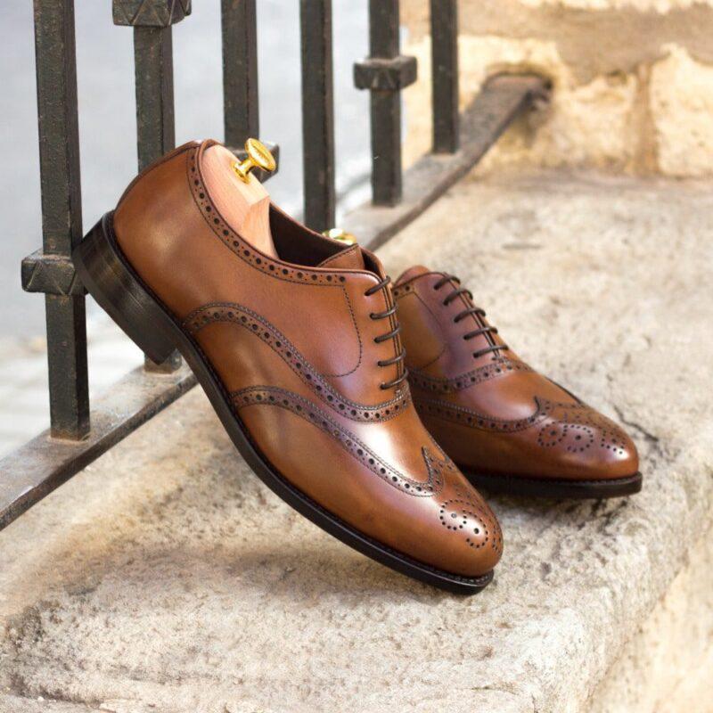 Custom Made Men's Goodyear Welt Wingtips in Medium Brown Painted Calf Leather