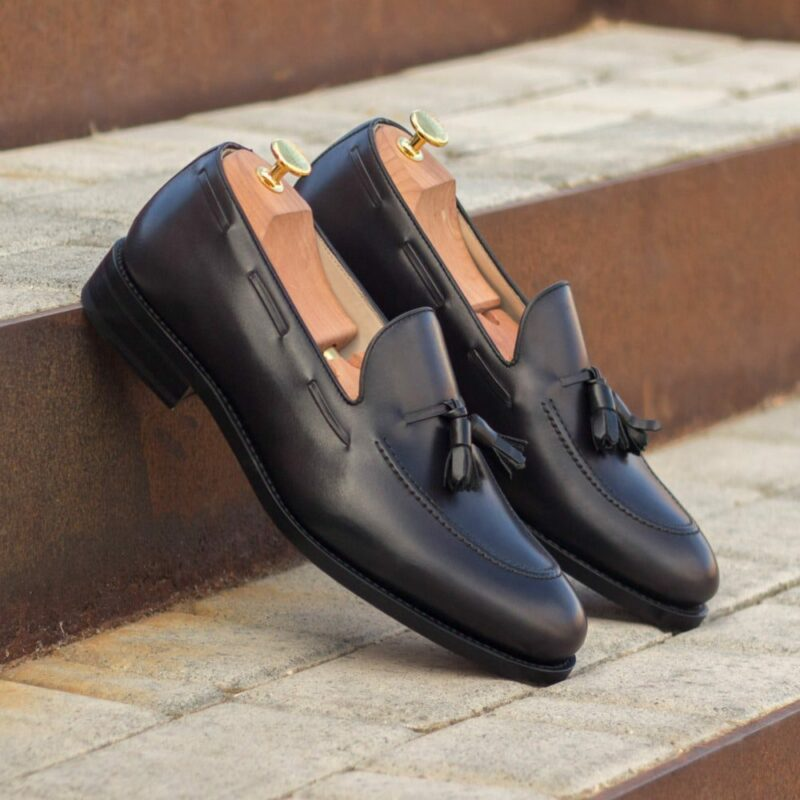 Custom Made Men's Goodyear Welted Loafers in Black Painted Calf Leather