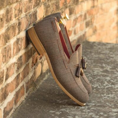 Custom Made Men's Goodyear Welted Loafers in Tweed with Medium Brown Box Calf
