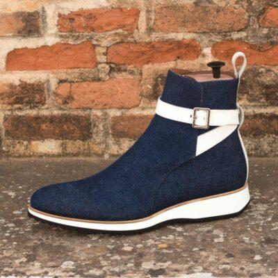 Custom Made Men's Jodhpur Boot in Denim and White Box Calf
