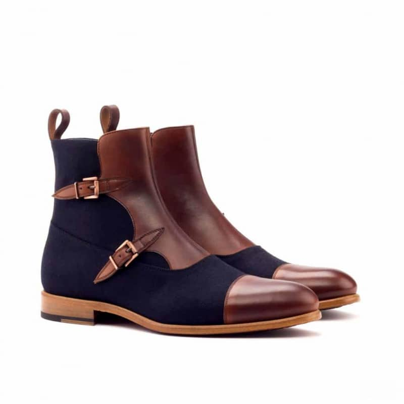 Custom Made Octavian Boot in Medium Brown Painted Calf Leather and Navy Blue Flannel