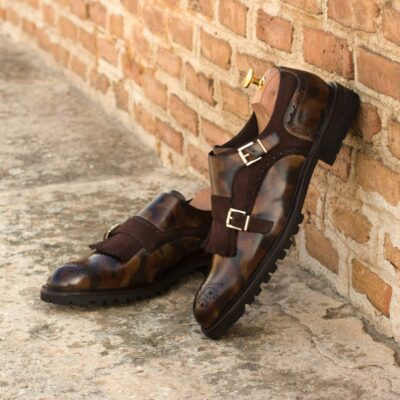 Custom Made Women's Kiltie Monkstrap in Italian Calf Leather with Brown Camo Hand Patina and Brown Kid Suede