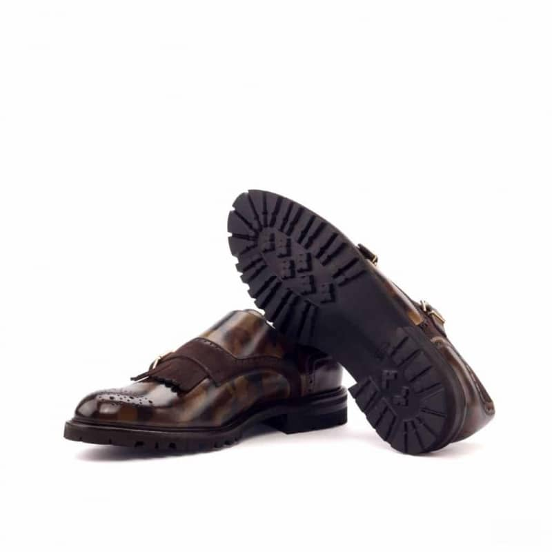 Custom Made Women's Kiltie Monkstrap in Italian Raw Crust Leather with Brown Camo Hand Patina and Brown Kid Suede