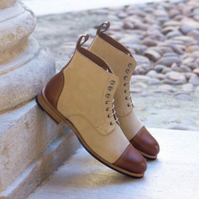 Custom Made Women's Lace Up Captoe Boot in Medium Brown Painted Calf and Sand Luxe Suede