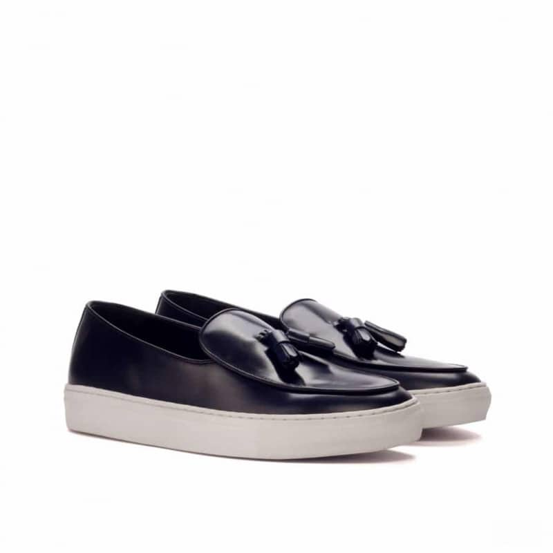 Custom Made Belgian Sneaker in Navy Blue Polished Calf Leather with Black Calf Leather Trim