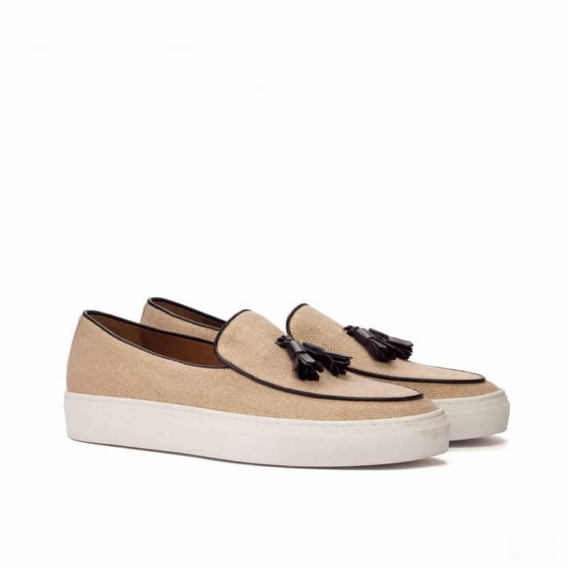 Custom Made Belgian Sneaker in Tan Linen with Brown Calf Leather
