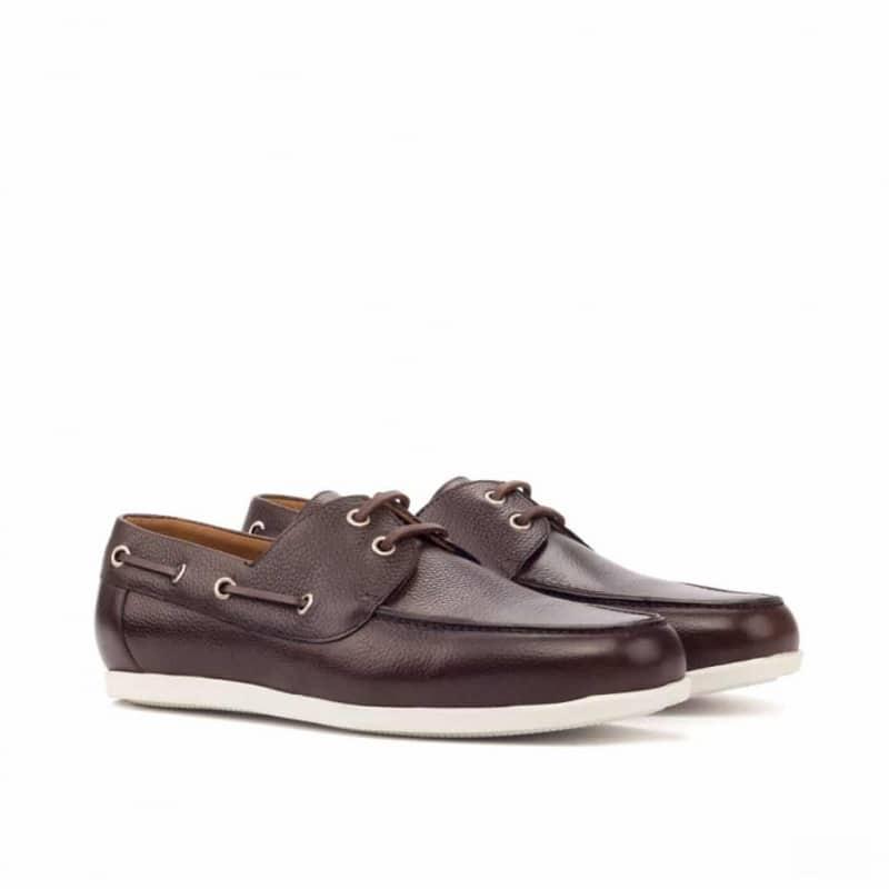 Custom Made Boat Shoe in Dark Brown Painted Full Grain Leather