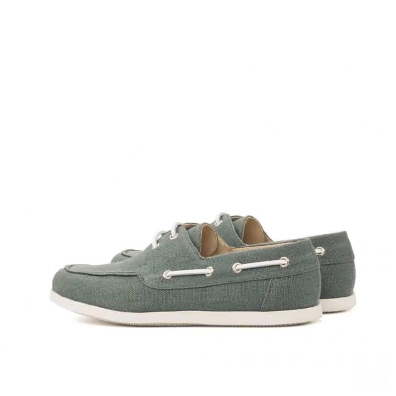 Custom Made Boat Shoe in Khaki Linen