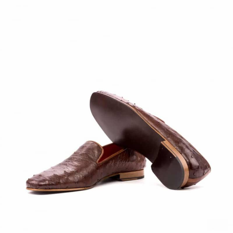 Custom Made Drake Slippers in Medium Brown Genuine Ostrich with Medium Brown Painted Calf