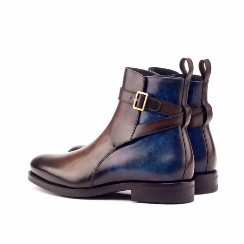 Custom Made Goodyear Welt Jodhpur Boot in Italian Raw Crust Leather with a Denim Blue and Brown Hand Patina Finish