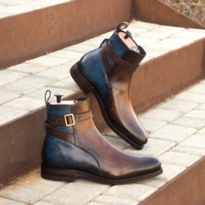 Custom Made Goodyear Welt Men's Jodhpur Boot in Italian Calf Leather with a Denim Blue and Brown Hand Patina Finish