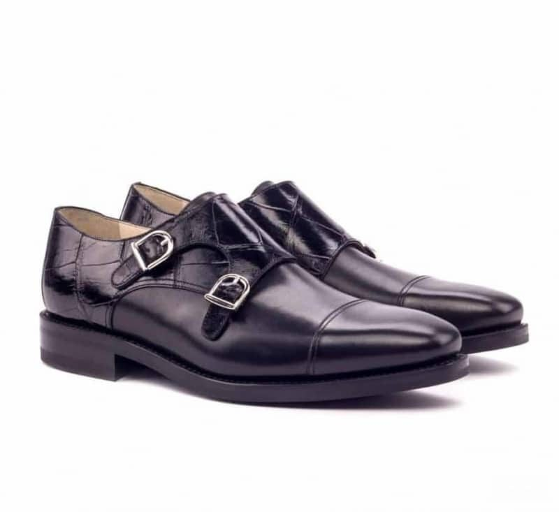 Custom Made Goodyear Welted Double Monks in Black Genuine Alligator and Black Box Calf Leather