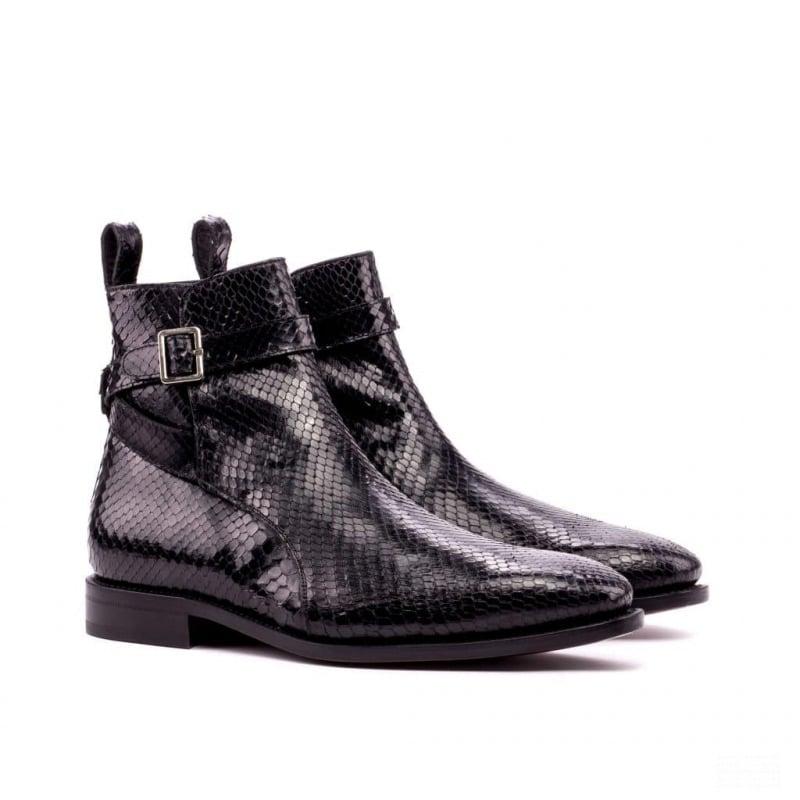 Custom Made Goodyear Welted Jodhpur Boot in Black Genuine Python