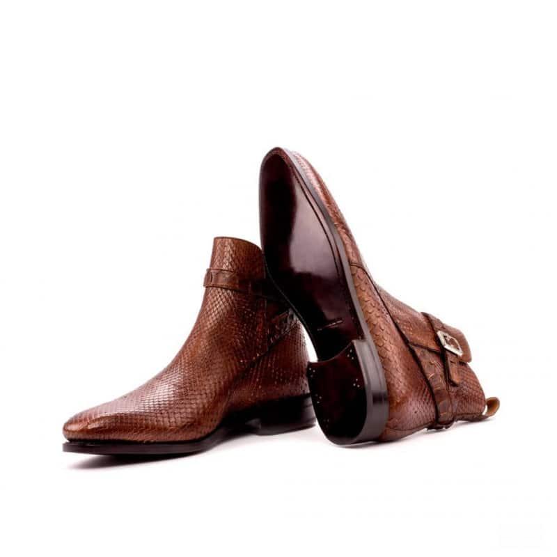 Custom Made Goodyear Welted Jodhpur Boot in Medium Brown Genuine Python