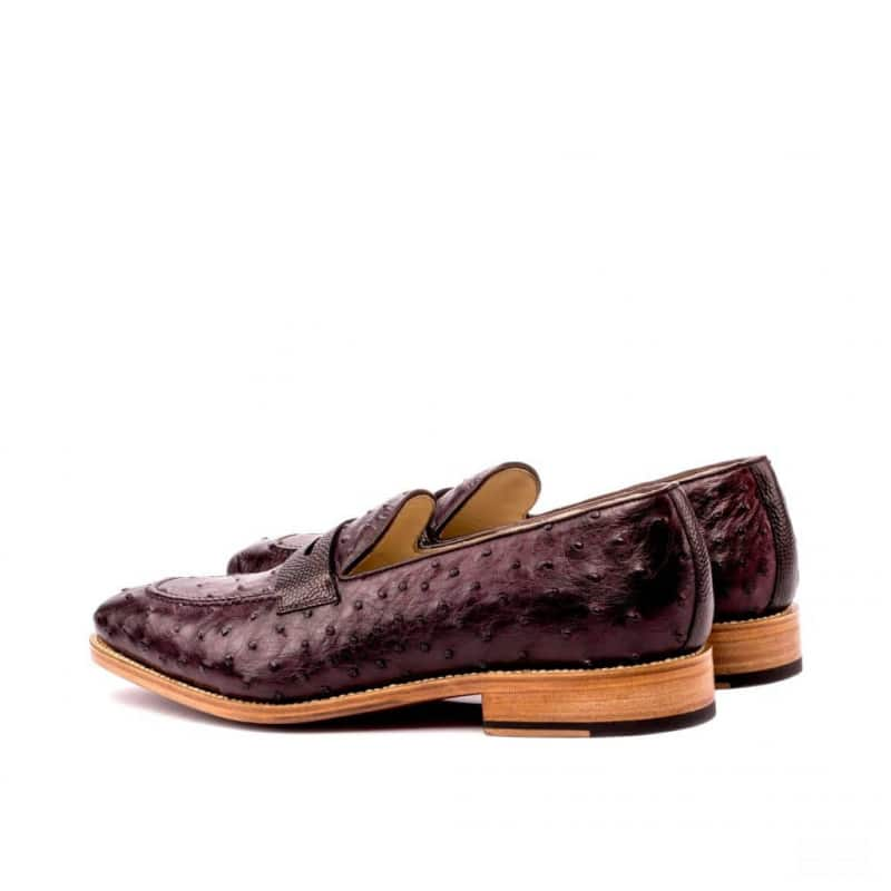 Custom Made Goodyear Welted Loafers in Burgundy Genuine Ostrich with Dark Brown Pebble Grain Leather and Box Calf