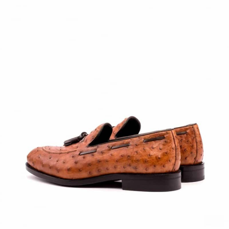 Custom Made Goodyear Welted Loafers in Cognac Genuine Ostrich with Dark Brown Painted Calf Leather