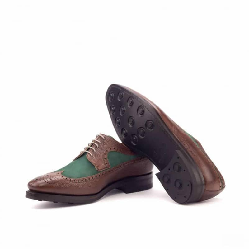 Custom Made Goodyear Welted Long Wingtip Blucher in Medium Brown Pebble Grain Leather with Forest Green Kid Suede