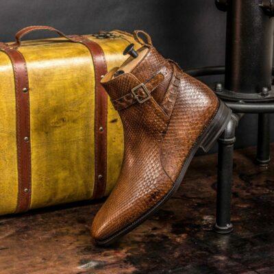 Custom Made Goodyear Welted Men's Jodhpur Boot in Medium Brown Genuine Python