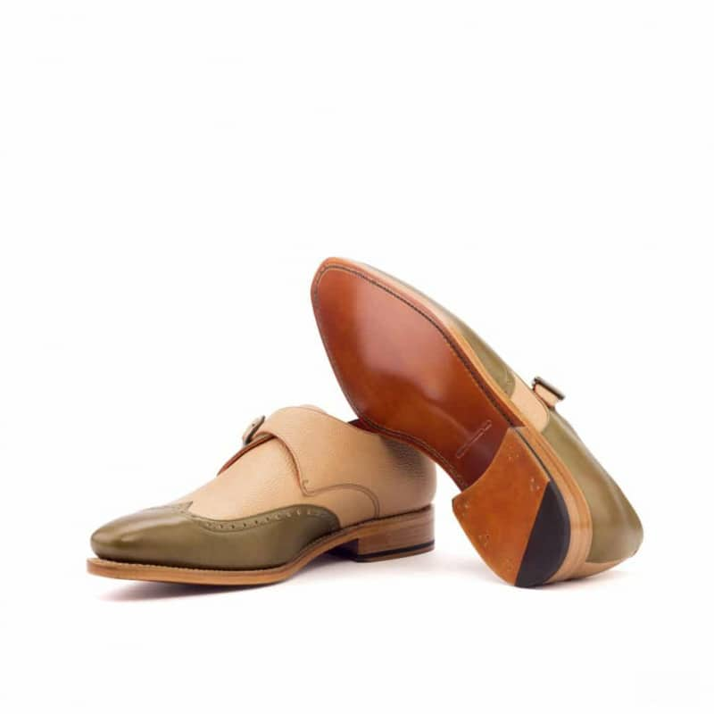 Custom Made Goodyear Welted Single Monks in Fawn Painted Full Grain and Olive Painted Calf Leather