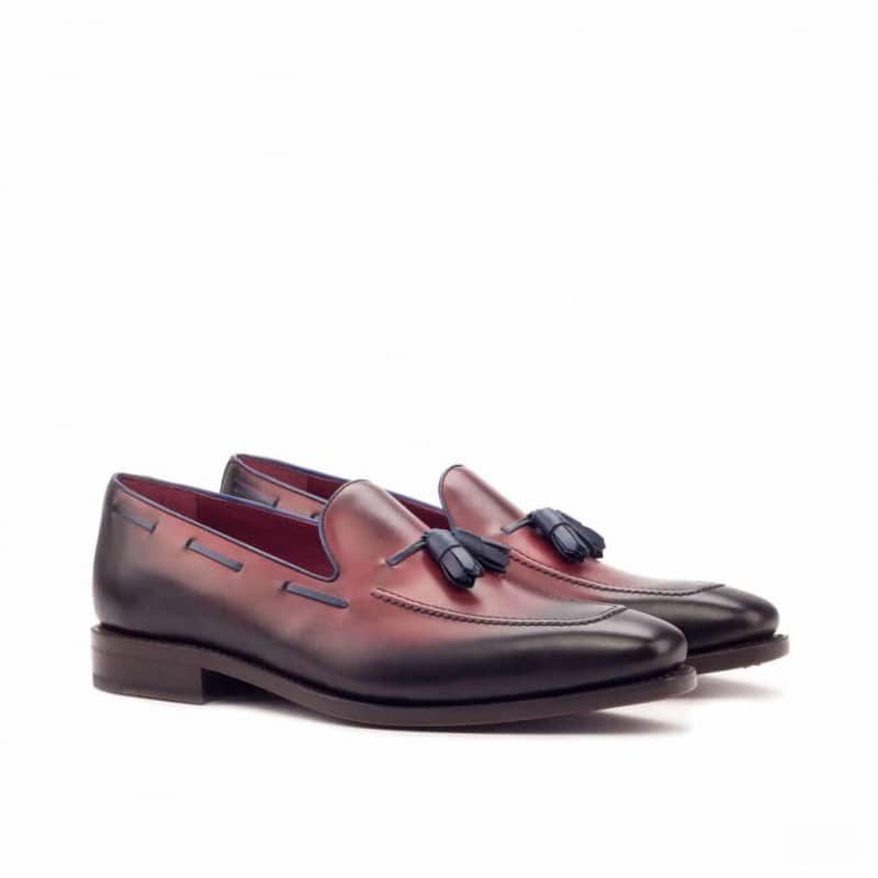 Custom Made Goodyear Welted Tassel Loafers in Red Painted Calf Leather with Navy Blue Painted Calf