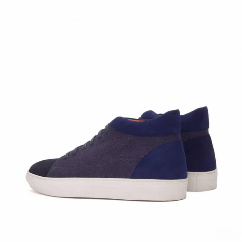Custom Made High Top in Navy Blue Linen with Navy Blue Suede and Painted Calf