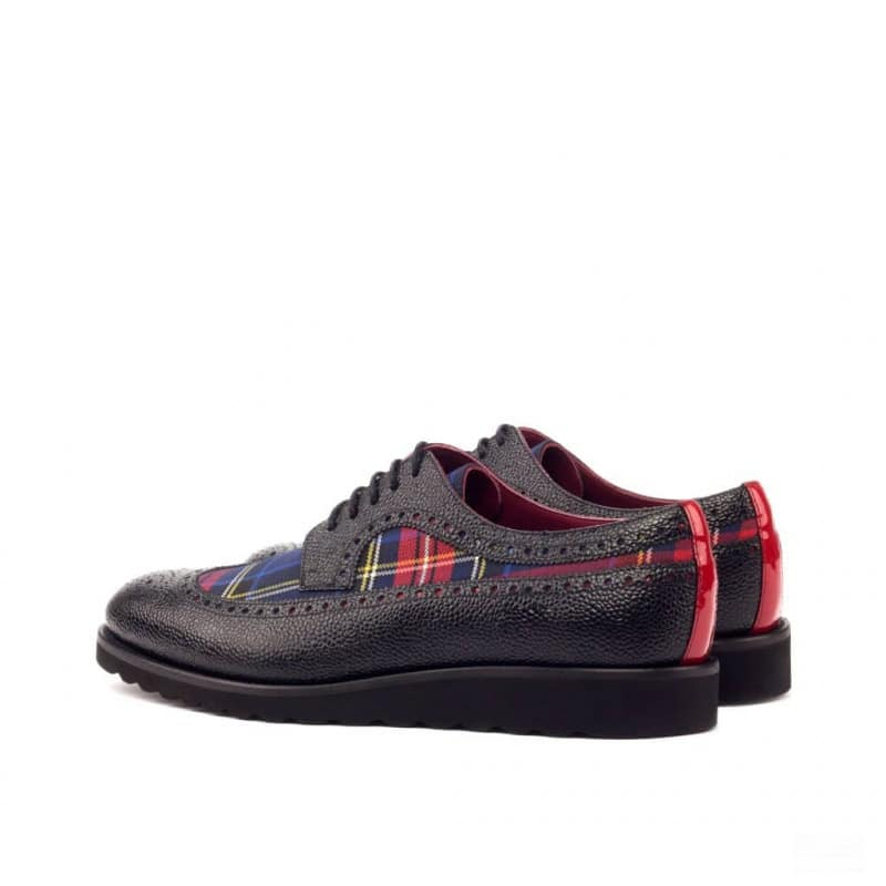 Custom Made Long Wingtip Blucher in Black Pebble Grain Leather with Tartan and Red Patent Leather