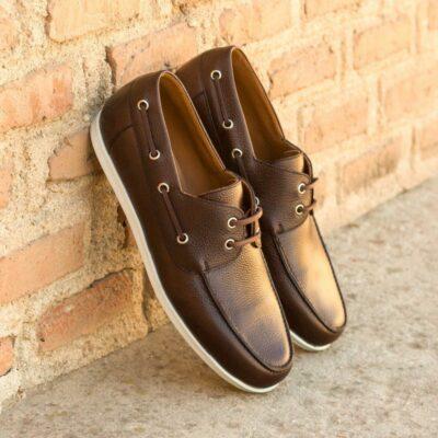 Custom Made Men's Boat Shoe in Dark Brown Painted Full Grain Leather