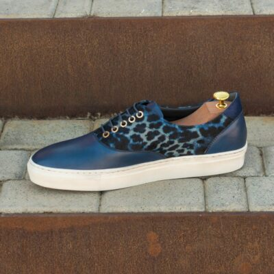 Custom Made Men's Cupsole Top Sider in Navy Blue Painted Calf and Kid Suede with Blue Leopard Print