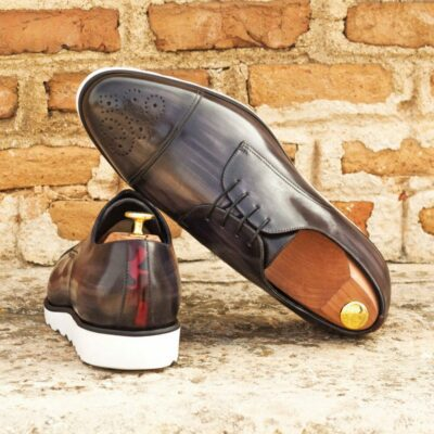 Custom Made Men's Derby in Italian Calf Leather with Grey and Burgundy Camo Hand Patina