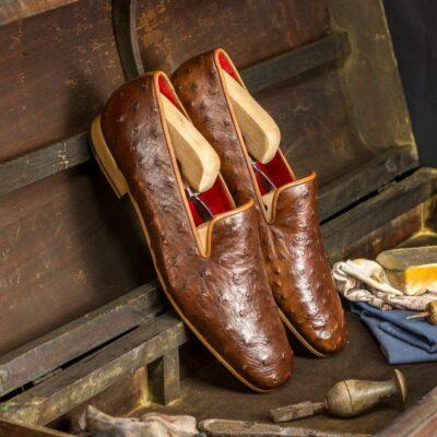 Custom Made Men's Drake Slippers in Medium Brown Genuine Ostrich with Medium Brown Painted Calf