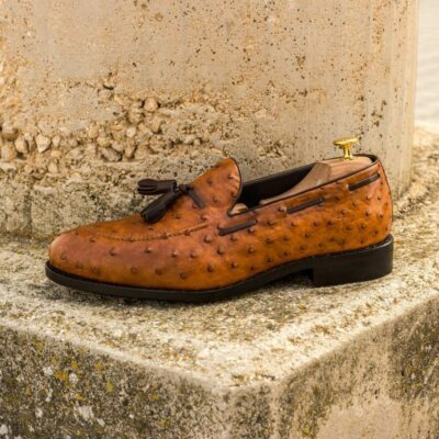 Custom Made Men's Goodyear Welted Loafers in Cognac Genuine Ostrich with Dark Brown Painted Calf Leather