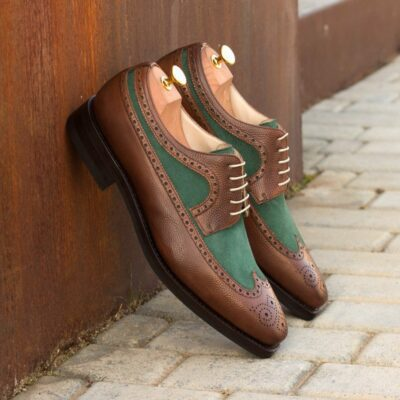 Custom Made Men's Goodyear Welted Longwing Blucher in Medium Brown Pebble Grain Leather with Forest Green Kid Suede