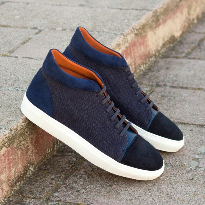 Custom Made Men's High Top in Navy Blue Linen with Navy Blue Suede and Painted Calf
