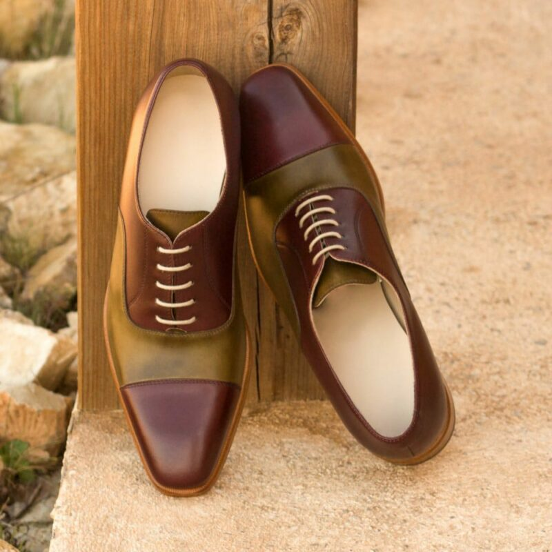 Custom Made Men's Oxford in Burgundy and Olive Painted Calf Leather