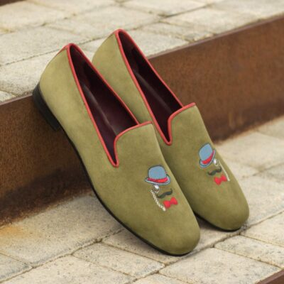 Custom Made Men's Wellington Slippers in Khaki Suede with Red Painted Calf