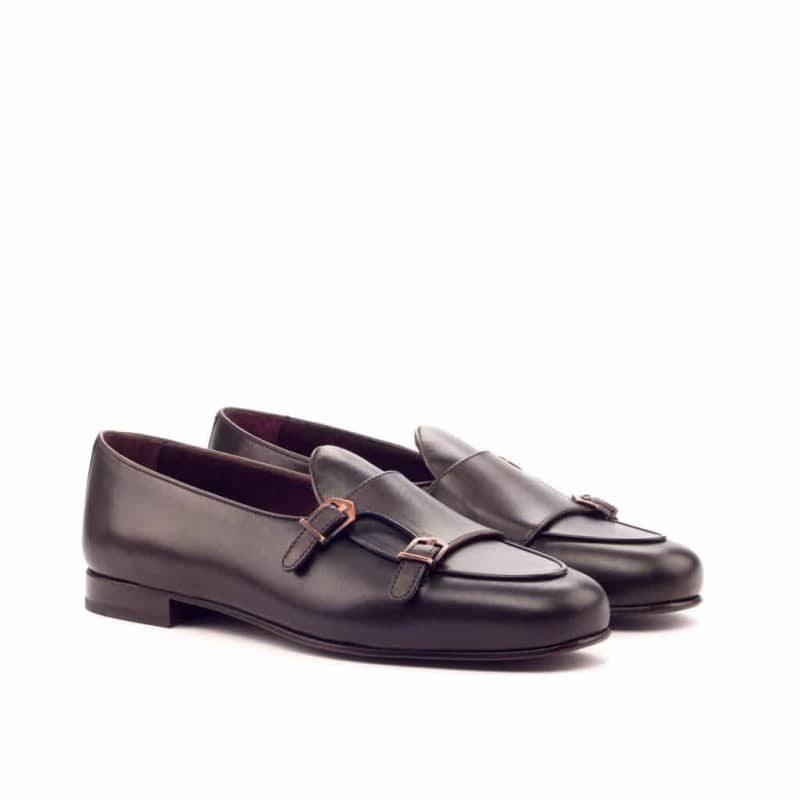 Custom Made Monk Slippers in Dark Brown Painted Calf