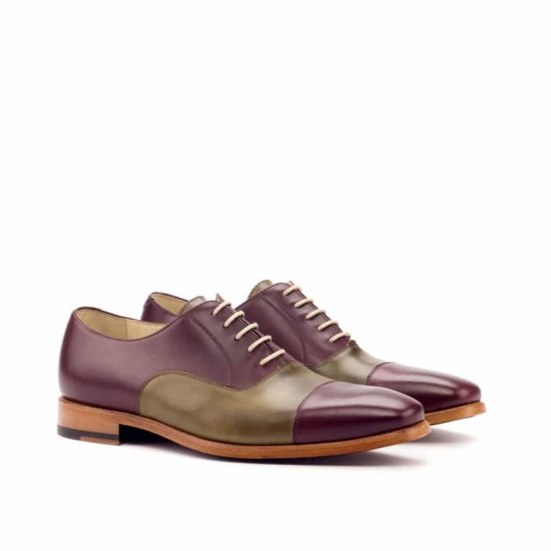 Custom Made Oxford in Burgundy and Olive Painted Calf Leather