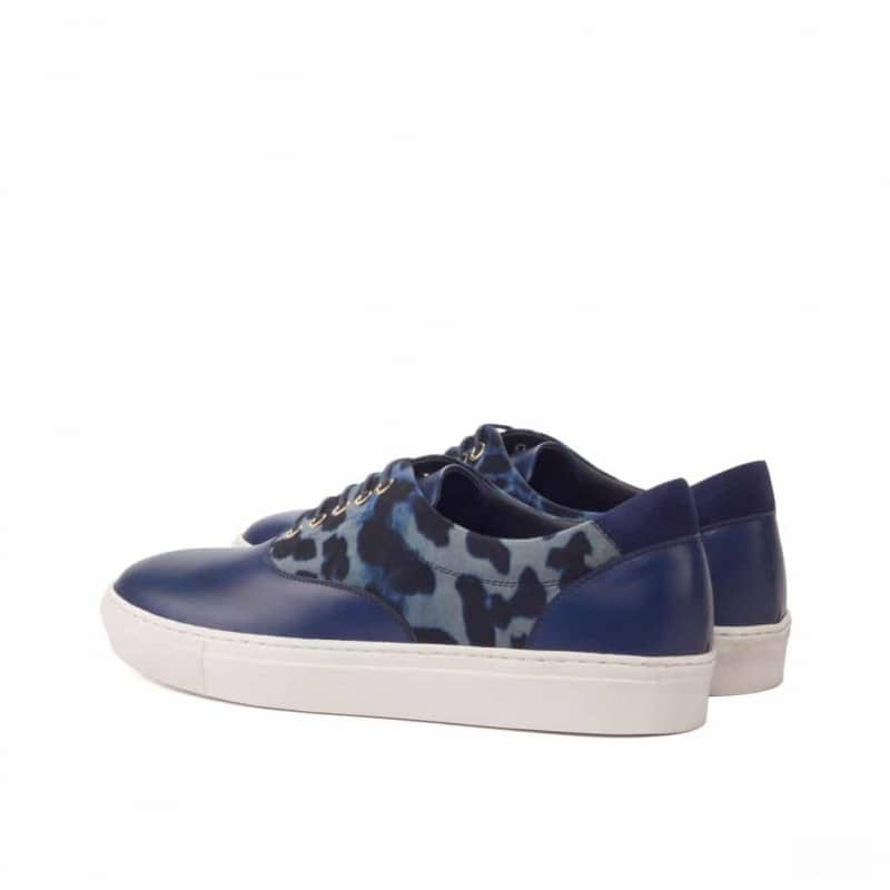 Custom Made Top Sider in Navy Blue Painted Calf and Kid Suede with Blue Leopard Print